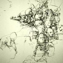 Metaform, Federzeichnung, Büttenpapier, Zeichnungen