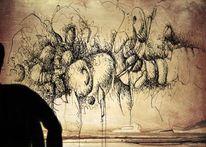 Narr, Hände, Wand, Zeichnungen