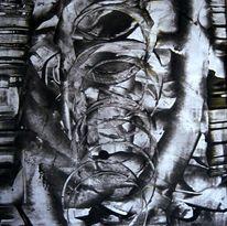Flur, Haus, Tuschmalerei, Abstrakt