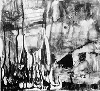 Spachteltechnik, Abstrakt, Schwarz weiß, Acrylmalerei