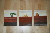 Acrylmalerei, Landschaft, Baum, Dorf