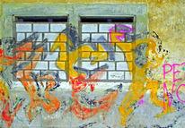 Fenster, Graffiti, Grafitty, Mauer