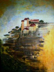Landschaft, Häuser, Dorf, Hügel
