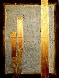 Bewegung, Gold, Acrylmalerei, Ausbruch