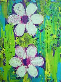 Abstrakt, Blumen, Grün, Blau