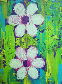 Blumen, Grün, Blau, Spachteltechnik