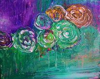 Blühen, Wiese, Grün, Abstrakt