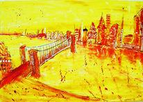 Haus, Stadt, Fluss, Brücke