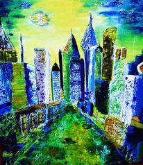 Blau, Gebäude, Architektur, Nacht