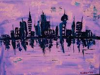 Stadt, Wasser, Weiß, Horizont