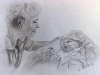 Oma und enkel, Bleistiftzeichnung, Familie, Portrait