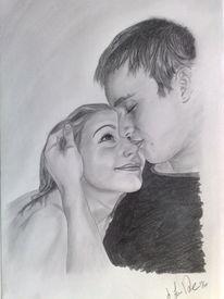 Liebe, Portrait, Zärtlichkeit, Bleistiftzeichnung
