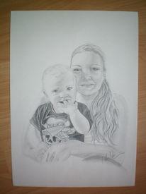 Baby, Kleinkind, Bleistiftzeichnung, Zeichnung