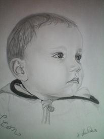 Bleistiftzeichnung, Portrait, Kleinkind, Baby