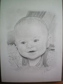 Kleinkind, Portrait, Baby, Bleistiftzeichnung