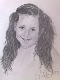 Mädchen, Bleistiftzeichnung, Gesicht, Portrait