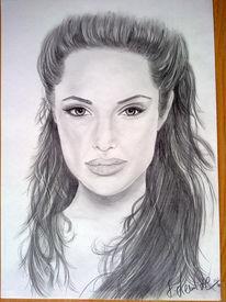 Portrait, Angelina jolie, Gesicht, Bleistiftzeichnung