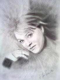 Portrait, Bleistiftzeichnung, Gesicht, Frau