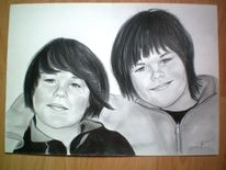 Portrait, Junge, Bleistiftzeichnung, Sohn