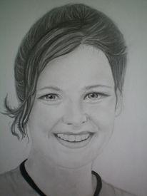 Gesicht, Portrait, Bleistiftzeichnung, Frau