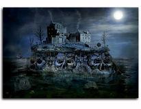 Horror, Berge, Mond, Fotomontage