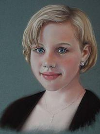 Portrait, Pastellmalerei, Kreide, Mädchen