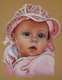 Mädchen, Portrait, Pastellmalerei, Kind