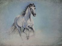 Reiten, Pastellmalerei, Mystik, Pferde