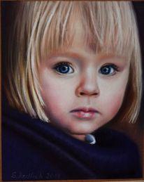 Mädchen, Kind, Portrait, Kreide