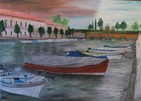 Gewitter, Gardasee, Italien, Malerei