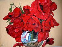 Mohnblüten, Malerei