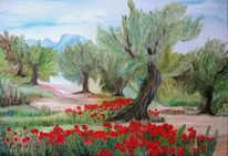 Toskana, Malerei, Mohnblüten