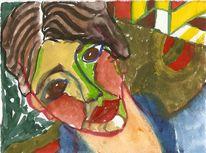 Portrait, Kopf, Zwitter, Aquarellmalerei