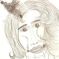 Bleistiftzeichnung, Frau, Zähne, Zeichnung