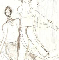 Mann, Verschränkung, Bleistiftzeichnung, Frau