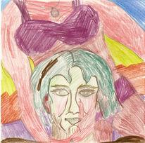Buntstiftzeichnung, Portrait, Zeichnung, Zeichnungen