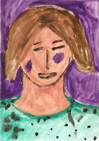 Portrait, Malerei, Frau, Lila