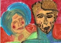Malerei, Fantasieporträts, Ölmalerei, Portrait