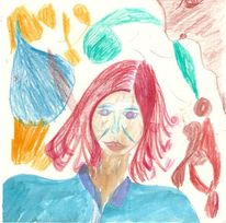 Haare, Portrait, Buntstiftzeichnung, Frau