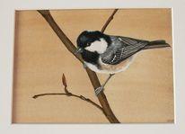 Aquarellmalerei, Vogel, Tiere, Meise