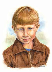 Menschen, Aquarellmalerei, Kind, Portrait