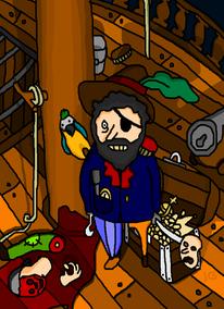 Schatz, Piratenschiff, Holzbein, Papagei