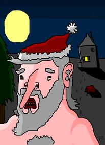 Nacht, Mond, Weihnachtsmann, Weihnachten