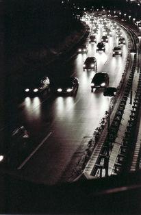 Auto, Fahrbahn, Schwarz weiß, Licht