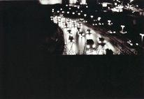 Verkehr, Nacht, Auto, Schwarz weiß