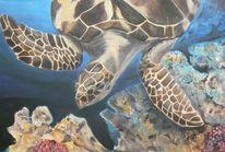 Meeresschildkröte, Unterwasserwelt, Natur, Acrylmalerei