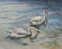 Winter, Landschaft, Schwan, Aquarellmalerei