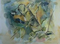 Tiere, Aquarellmalerei, Kohlmeise, Strauch