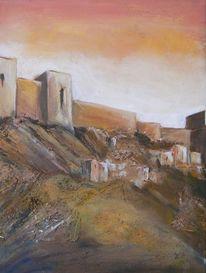 Acrylmalerei, Maurische burg, Calima, Malerei
