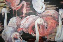 Wasser, Acrylmalerei, Flamingo, Malerei